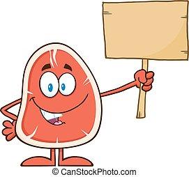 Steak Holding A Blank Wooden Sign - Steak Cartoon Mascot...
