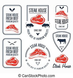 Steak house and butchery labels and emblems - meat store ...