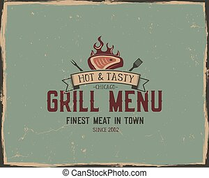 Steak house and grill menu typography poster template in retro old style. Offset and letterpress design. Letter press steak label, emblem. Vector isolated on scratched background