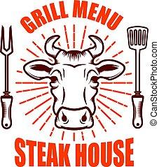 Steak house. Bull head  and crossed kitchen knives. Design element for logo, label, emblem.