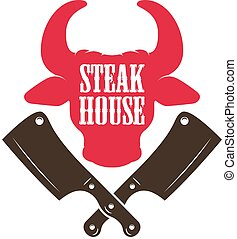 Steak house. Bull head silhouette and crossed meat cleavers. Design element for logo, label, emblem.