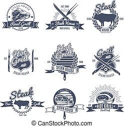 Steak House Emblems Set