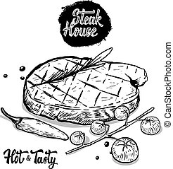Steak house. Hand drawn beef steak with rosmarine, cherry tomatoes, pepper. Design elements for menu, poster. Vector illustration