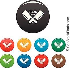 Steak house icons set color