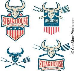steak house labels set