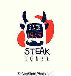 Steak house logo template since 1969, vintage label colorful...