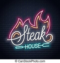 steak house neon logo with fire on black background