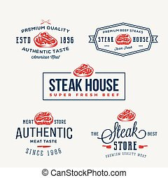 Steak House or Meat Store Vintage Typography Labels, Emblems...