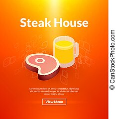 Steak house poster of isometric color design