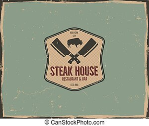 Steak house poster or logo design. Bar and grill logotype, emblem. Food label in retro colors style. Stock vector badge. Isolated on scratched background