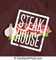 steak house vector illustration with meat and garlic