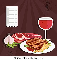 steak house vector illustration with meat and wine
