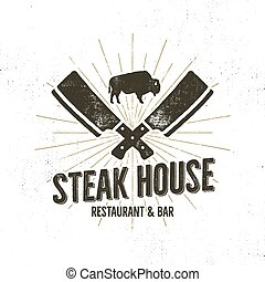Steak House vintage Label. Typography letterpress design. Vector   retro logo. Included bbq grill symbols for customizing   badge. Black and white insignia