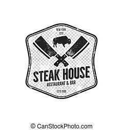 Steak House vintage Label. Typography letterpress design. Vector steak house retro logo. Included bbq grill symbols for customizing steak house badge. Monochrome insignia isolated on white background.