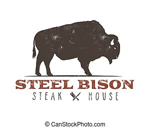 Steak House vintage Label. Typography letterpress design....