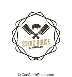 Steak House vintage Label with decoratiove elements. Typography letterpress design. Vector retro logo. Included bbq grill symbols for customizing badge. Black and white insignia