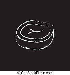 Steak icon drawn in chalk.