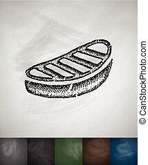 steak icon. Hand drawn vector illustration