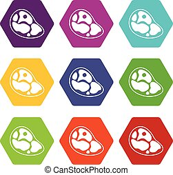 Steak icon set color hexahedron