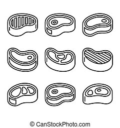 Steak Icons Set on White Background. Vector