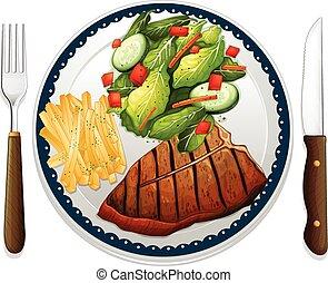 Steak - Illustration of a maindish of steak