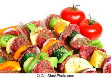 Steak Kabob - Steak and assorted vegetables including onion,...