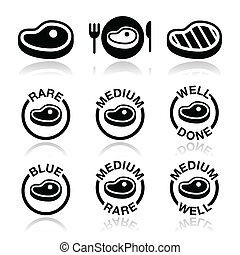 Steak - medium, rare, done icon - Vector icons set of beaf ...