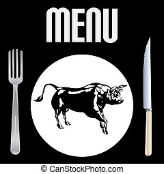Steak Menu vector template with a bull on a plate