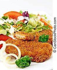 Steak & mixed salad meal