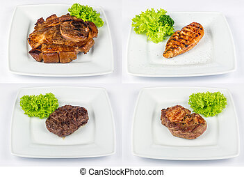 steak of different meat type image set - set of images with...