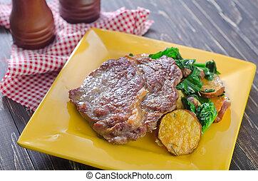 steak on plate
