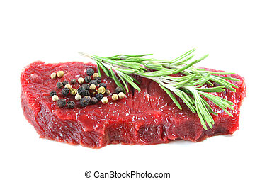 Steak with rosemary and peppercorns