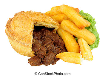 Steak Pie And Chips Meal With Mushy Peas
