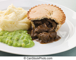 Steak Pie and Mash with Mushy Peas