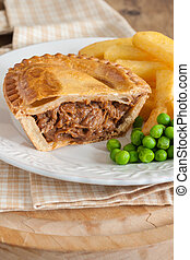 Steak Pie Chips and Peas