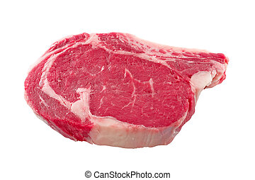 Steak - Raw beef meat (steak) on white background
