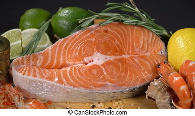 Steak Red Fish with Citrus and Shrimps - Raw Red Fish Steak...