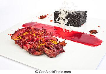 Steak Ribeye on white plate