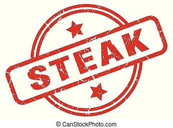 steak round grunge isolated stamp