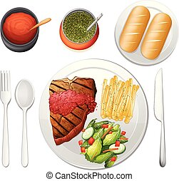 Steak Set on White Background