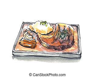 Steak sizzle in hot pan plate watercolor illustration -...