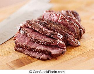steak sliced thin on a cutting board