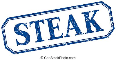 steak square blue grunge vintage isolated label