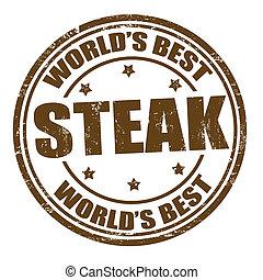 Steak stamp - Grunge rubber stamp with the word steak...
