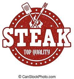 Steak stamp - Steak grunge rubber stamp on white background,...