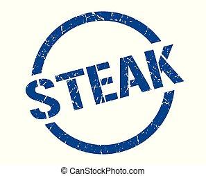 steak stamp - steak blue round stamp