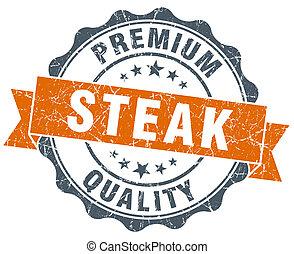 steak vintage orange seal isolated on white