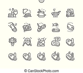Steak Well-crafted Pixel Perfect Vector Thin Line Icons 30 ...