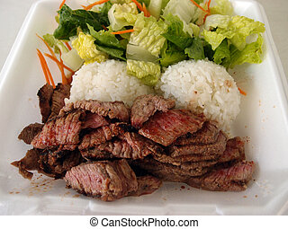 Steak, White Rice, toss salad in a styrofoam plate - Medium...