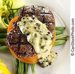 Steak With Peppercorn Sauce - Chargrilled steak on sweet...